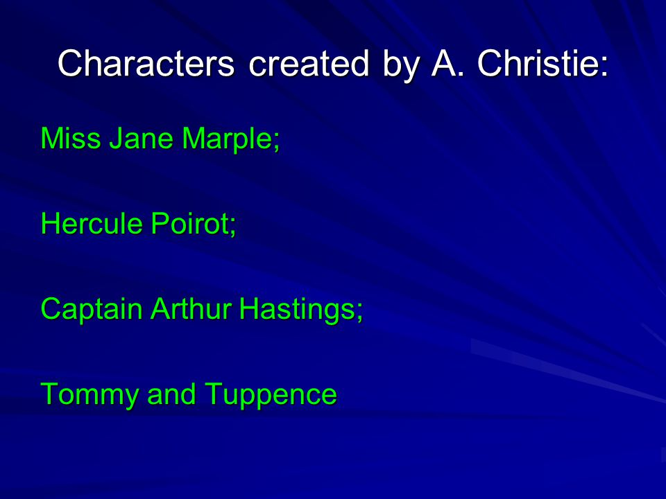 Characters created by A. Christie: