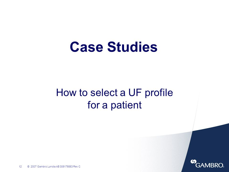 How to select a UF profile for a patient