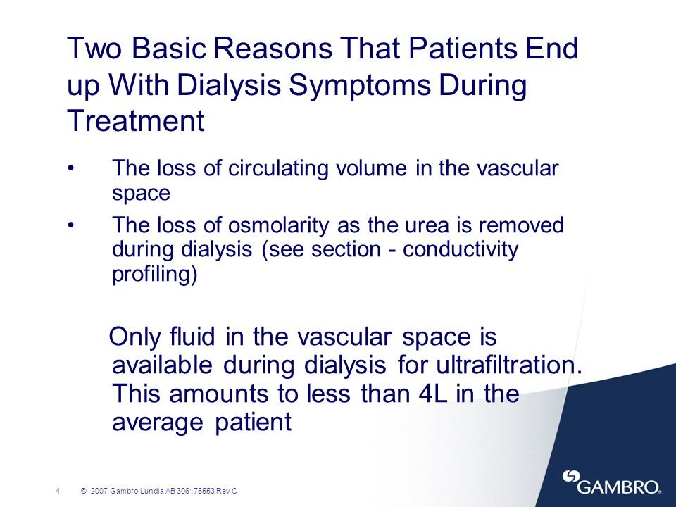 Two Basic Reasons That Patients End up With Dialysis Symptoms During Treatment
