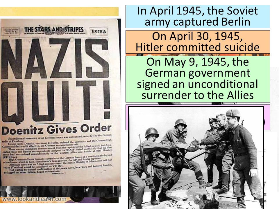 In April 1945, the Soviet army captured Berlin