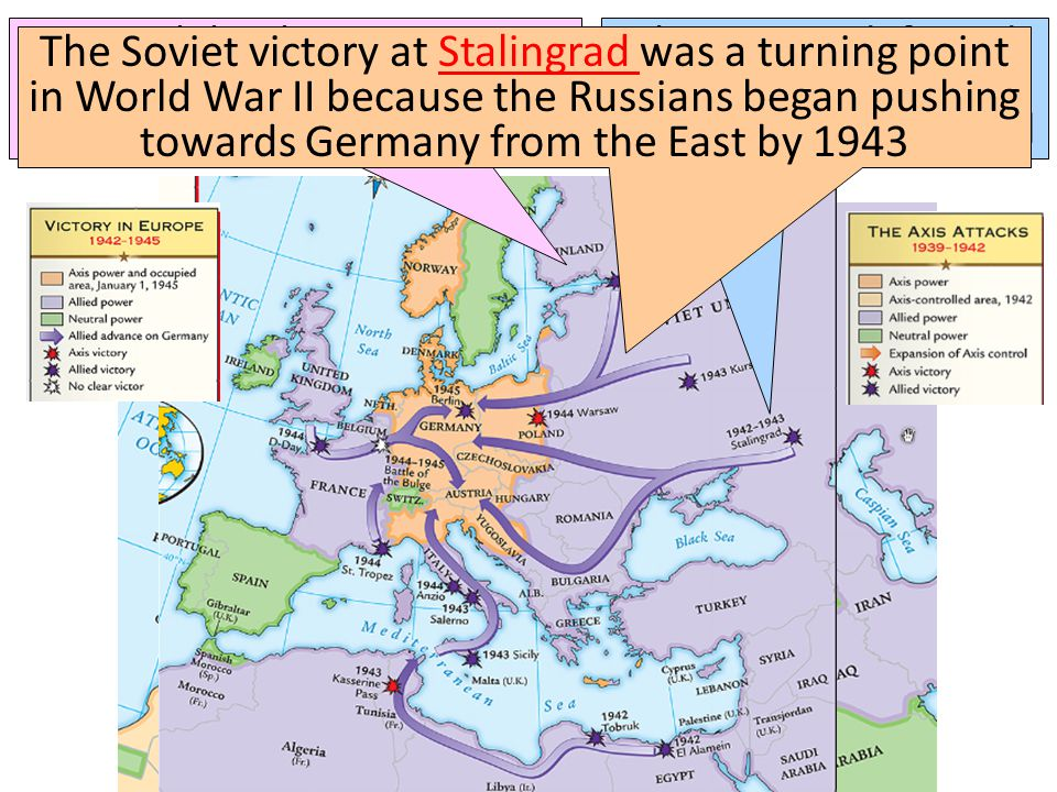 The Soviets defeated the German army at the Battle of Stalingrad