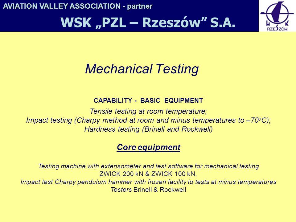 """WSK """"PZL – Rzeszów S.A. Mechanical Testing"""