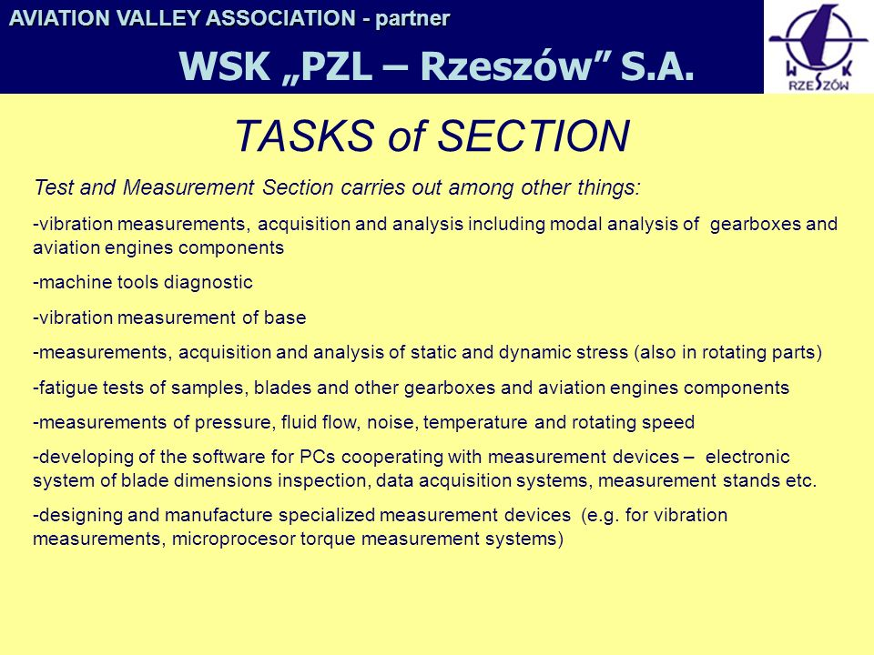 "TASKS of SECTION WSK ""PZL – Rzeszów S.A."