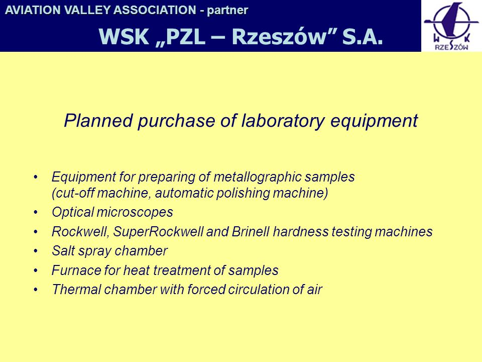 Planned purchase of laboratory equipment