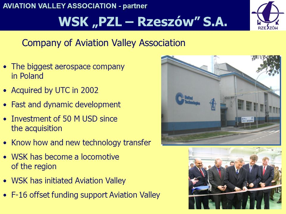 "WSK ""PZL – Rzeszów S.A. Company of Aviation Valley Association"