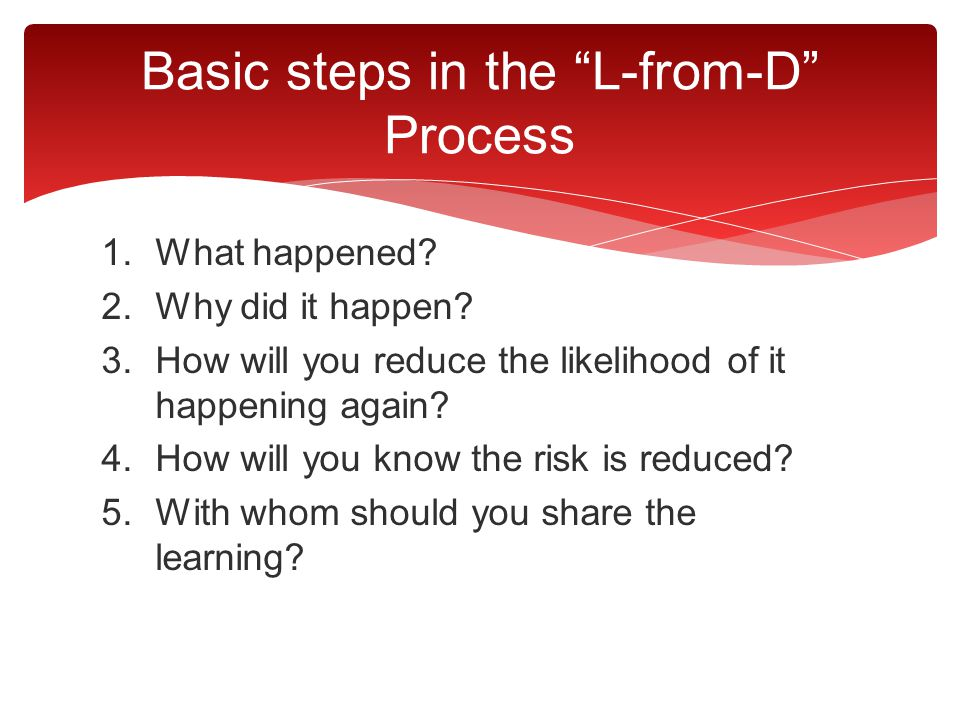 Basic steps in the L-from-D Process