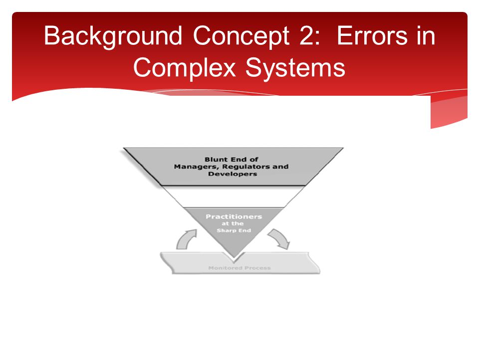 Background Concept 2: Errors in Complex Systems