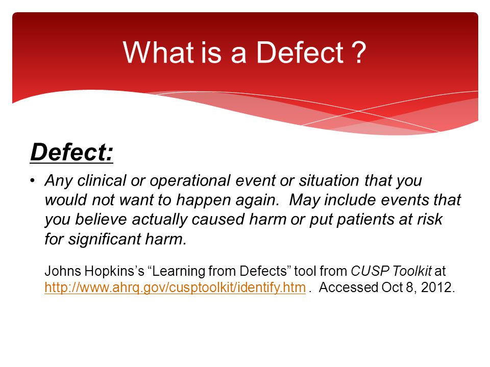 What is a Defect Defect: