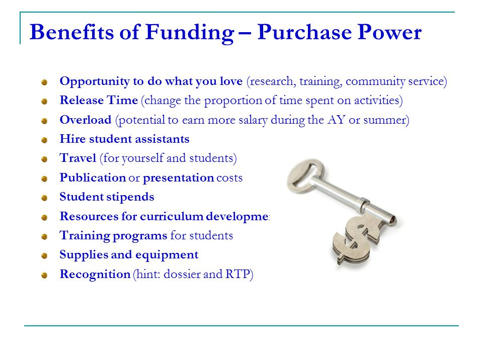 Benefits of Funding – Purchase Power