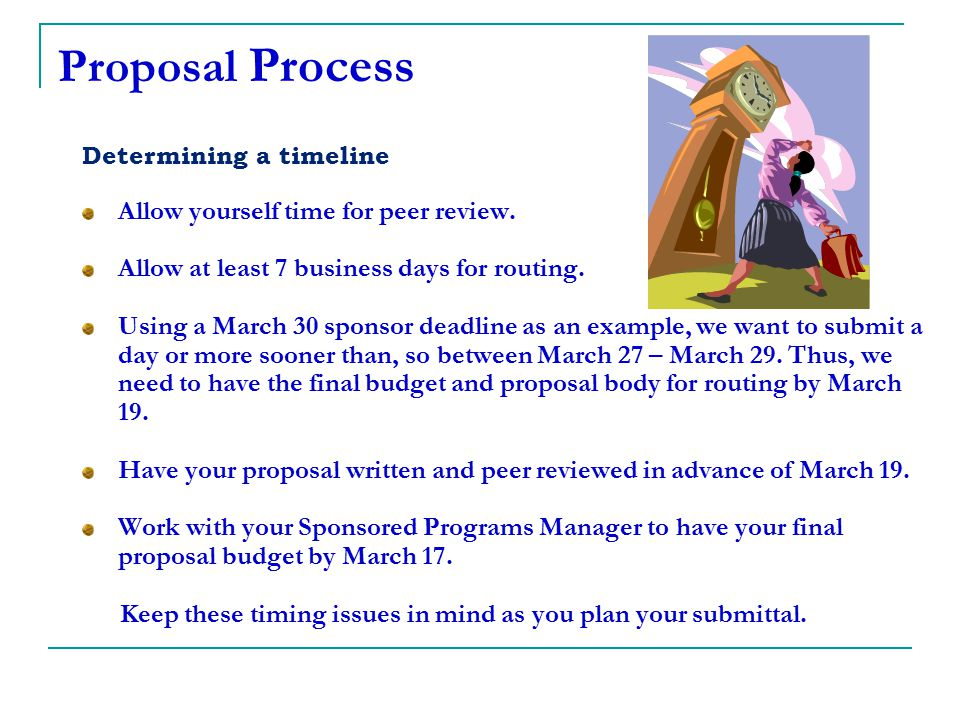 Keep these timing issues in mind as you plan your submittal.