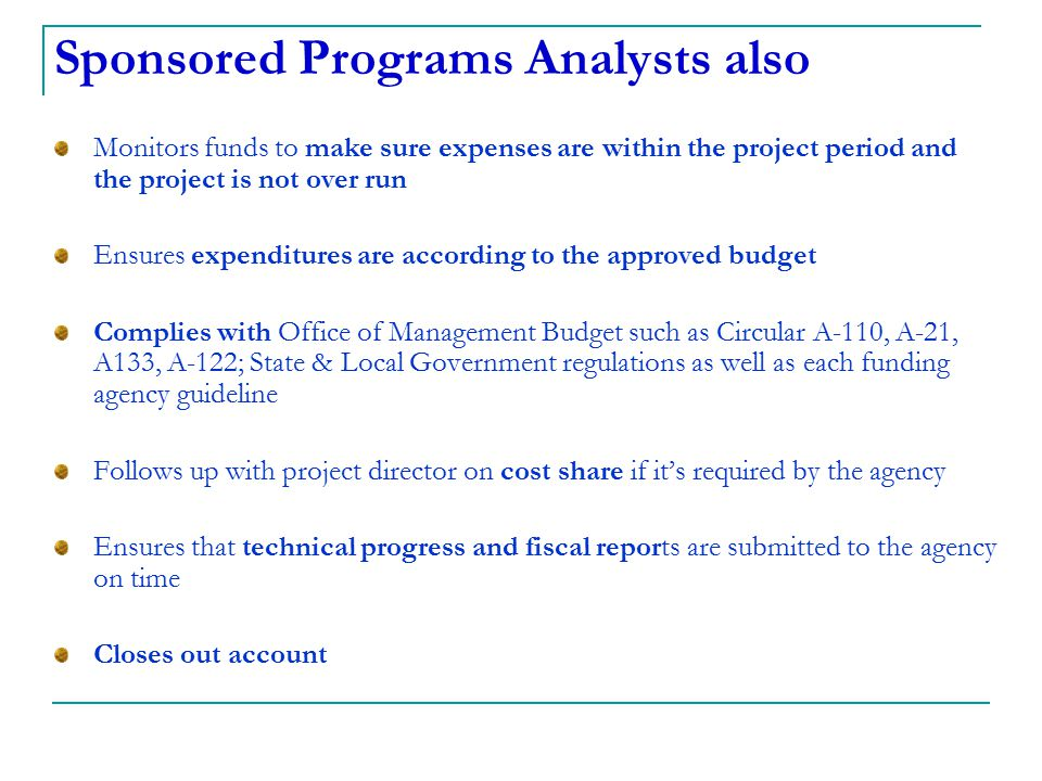 Sponsored Programs Analysts also