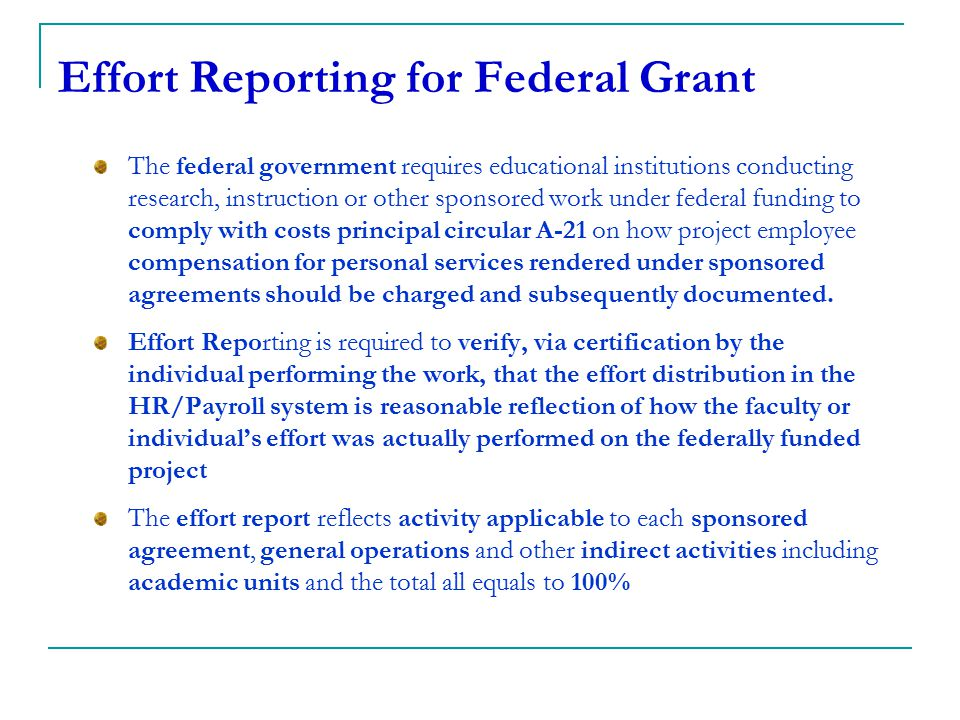 Effort Reporting for Federal Grant