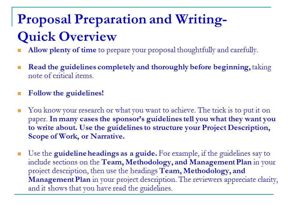 Proposal Preparation and Writing- Quick Overview