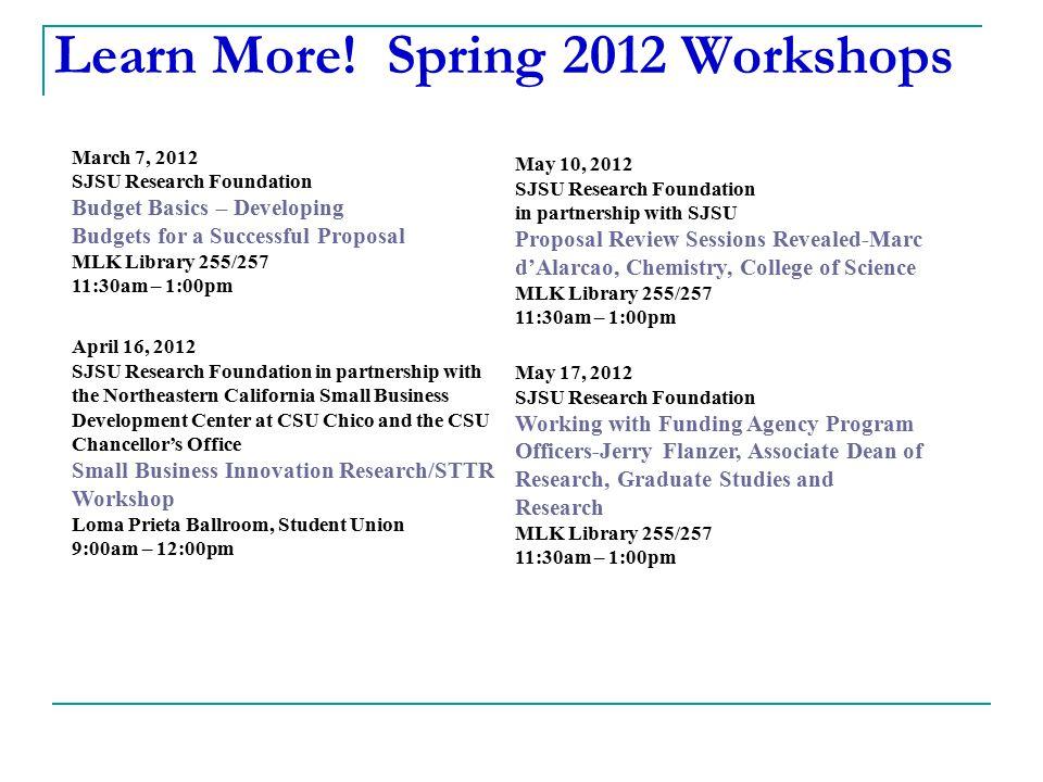 Learn More! Spring 2012 Workshops