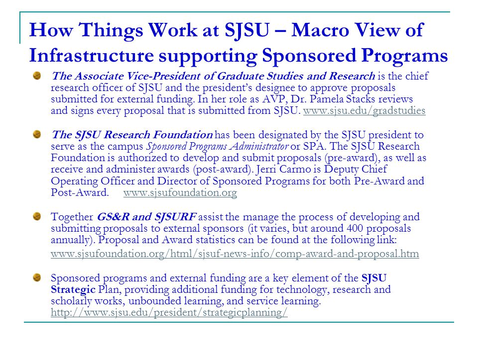 How Things Work at SJSU – Macro View of Infrastructure supporting Sponsored Programs