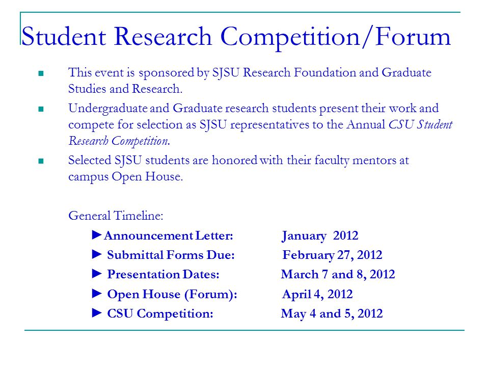 Student Research Competition/Forum