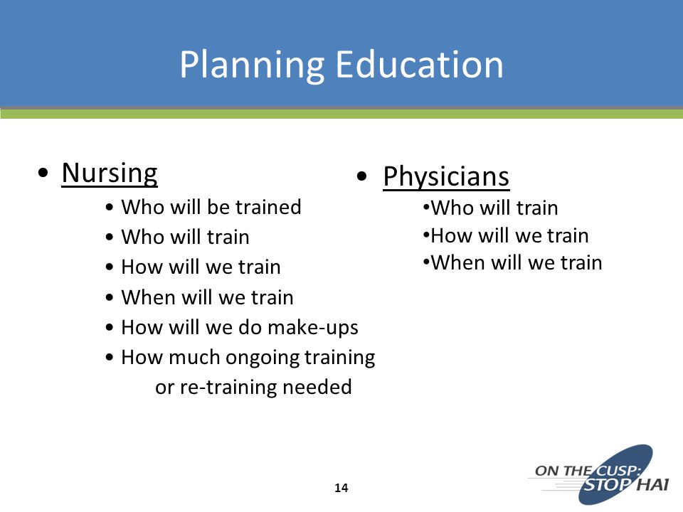 Planning Education Nursing Physicians Who will be trained