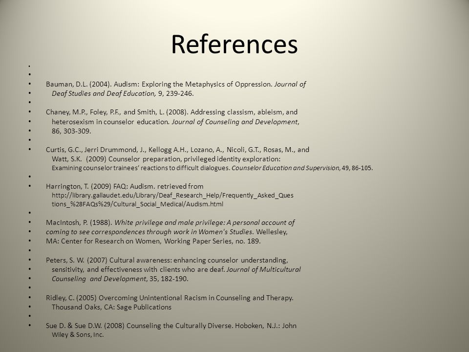 References Bauman, D.L. (2004). Audism: Exploring the Metaphysics of Oppression. Journal of. Deaf Studies and Deaf Education, 9, 239-246.