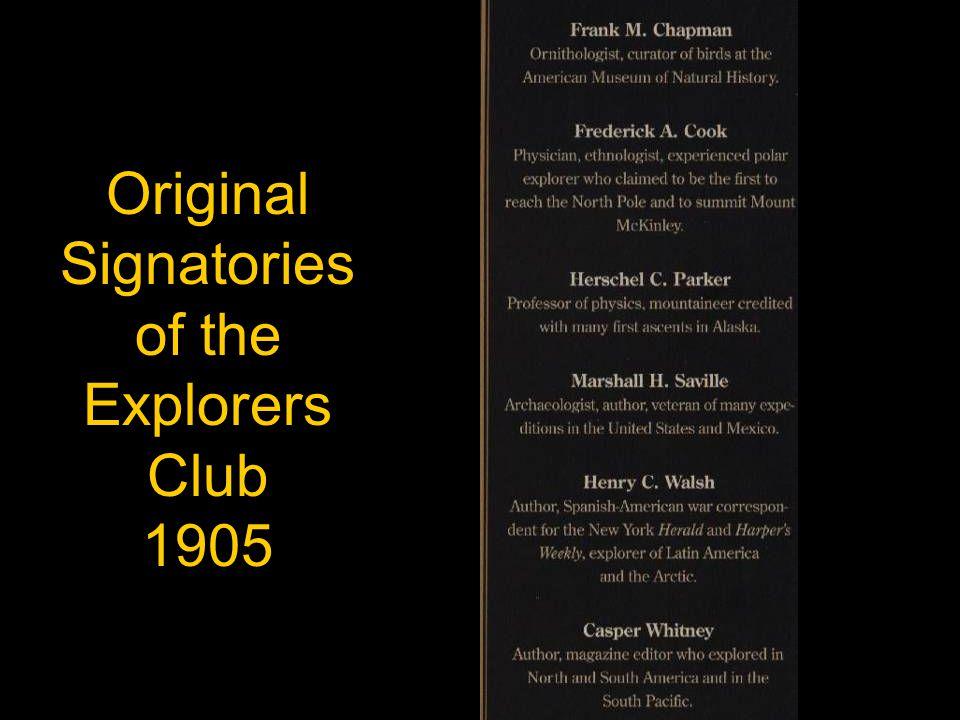 Original Signatories of the Explorers Club 1905