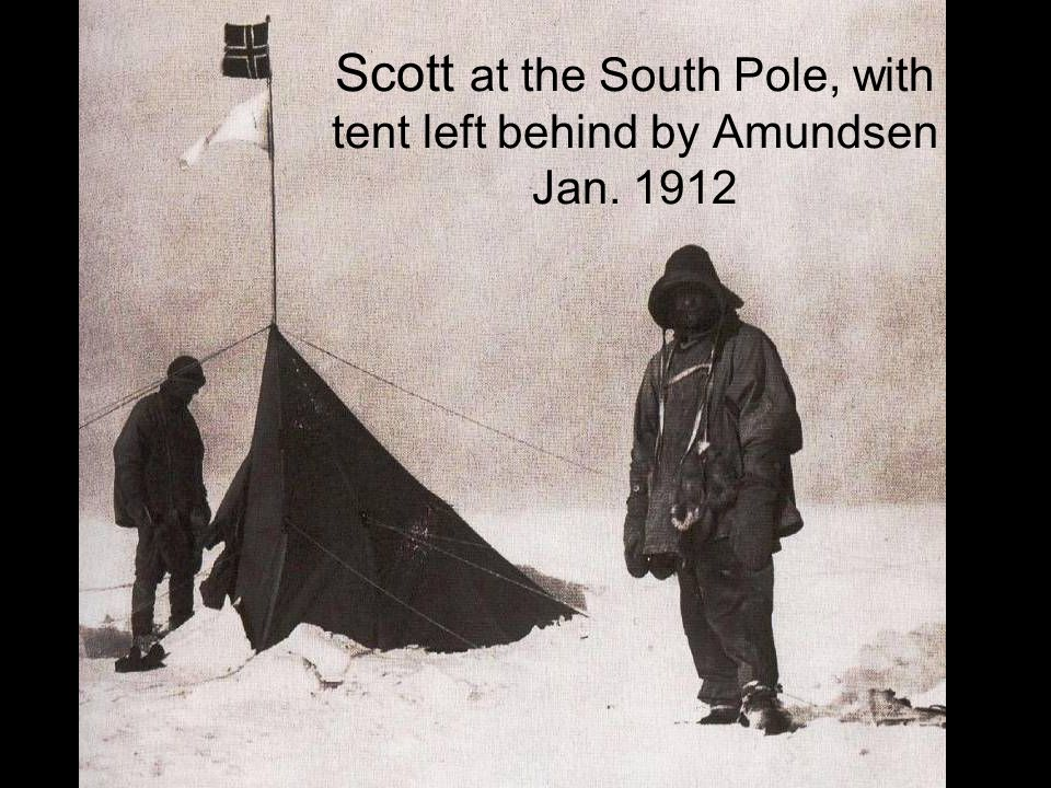 Scott at the South Pole, with tent left behind by Amundsen Jan. 1912