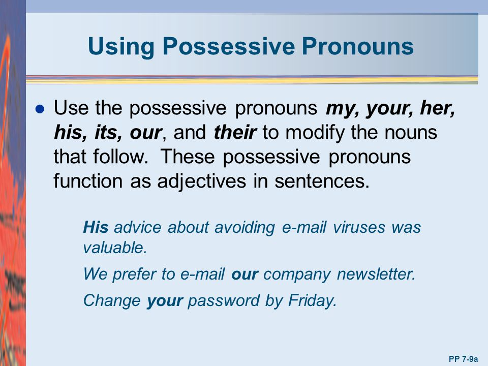 Using Possessive Pronouns