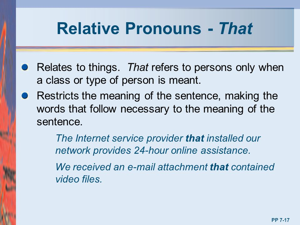 Relative Pronouns - That