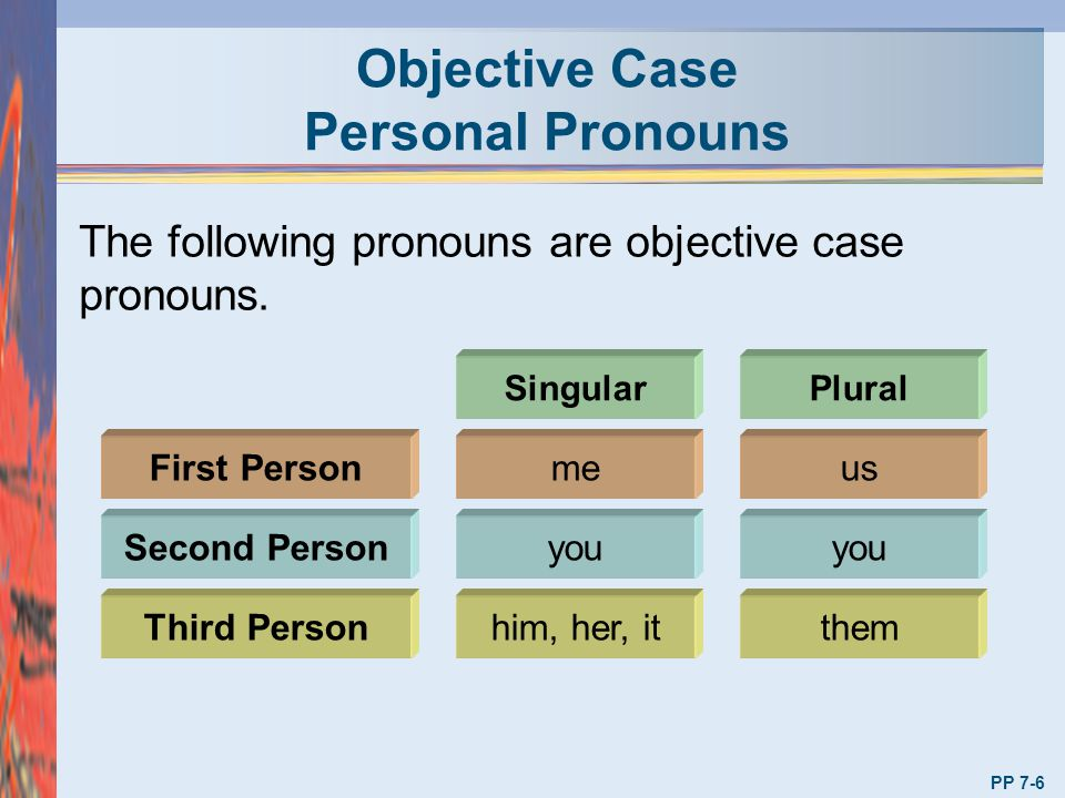 Objective Case Personal Pronouns