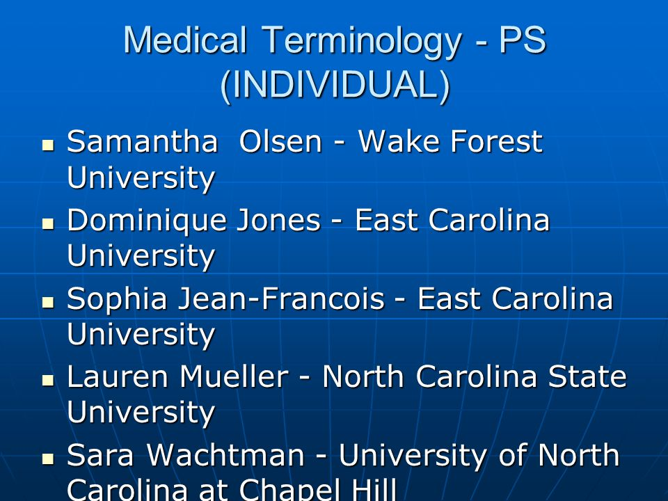 Medical Terminology - PS (INDIVIDUAL)