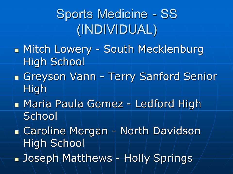 Sports Medicine - SS (INDIVIDUAL)