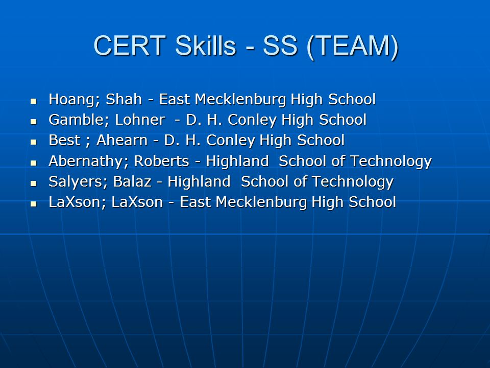 CERT Skills - SS (TEAM) Hoang; Shah - East Mecklenburg High School