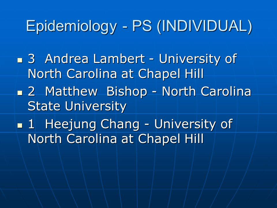 Epidemiology - PS (INDIVIDUAL)