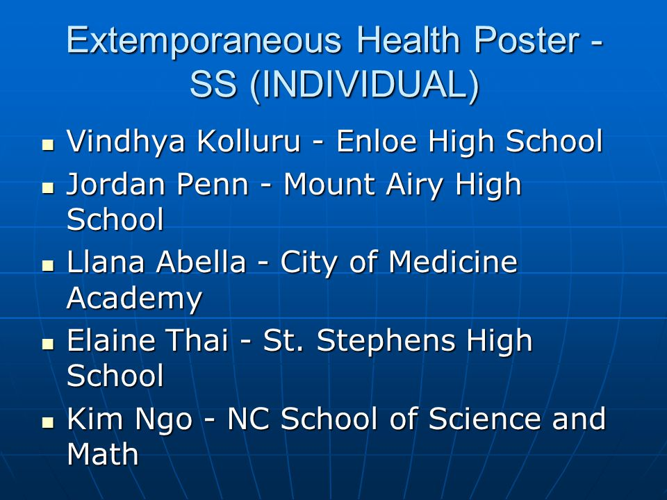 Extemporaneous Health Poster - SS (INDIVIDUAL)