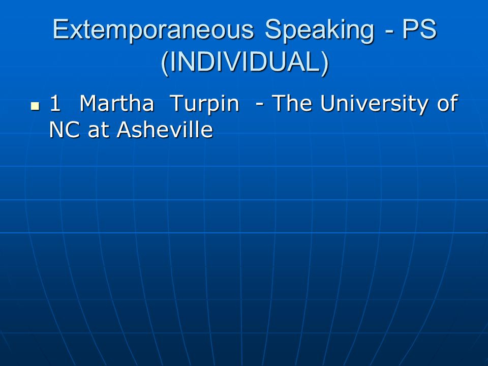 Extemporaneous Speaking - PS (INDIVIDUAL)