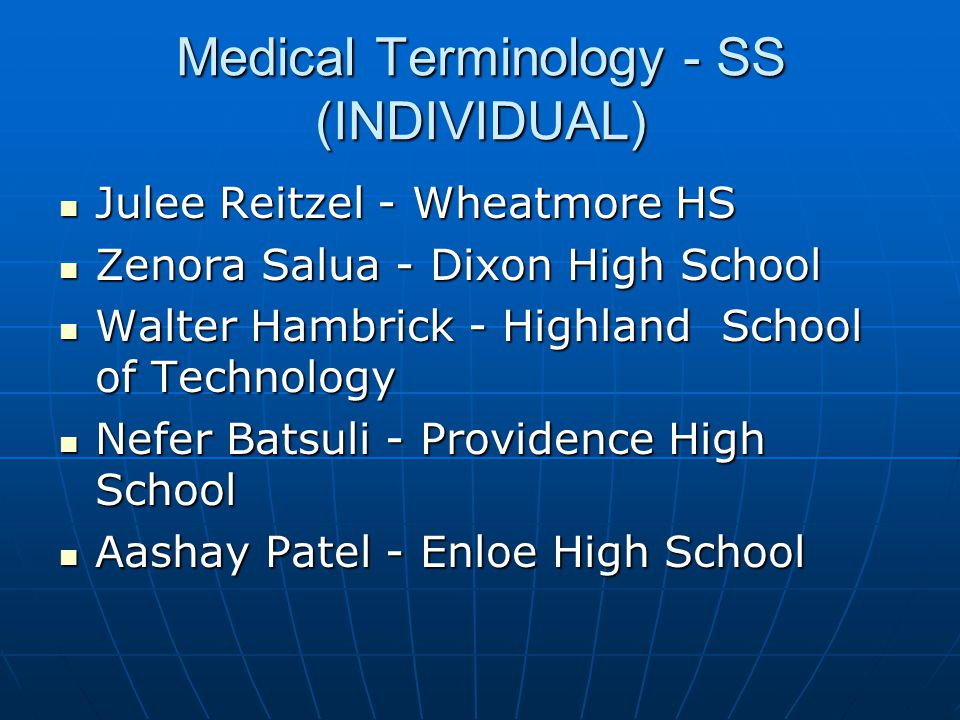Medical Terminology - SS (INDIVIDUAL)