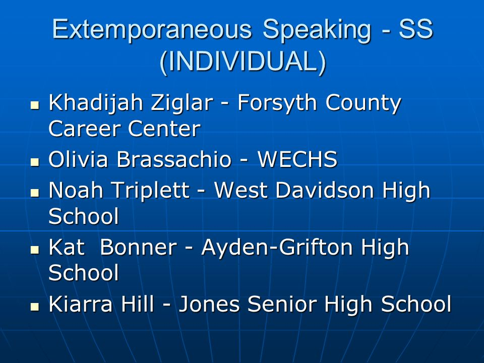 Extemporaneous Speaking - SS (INDIVIDUAL)
