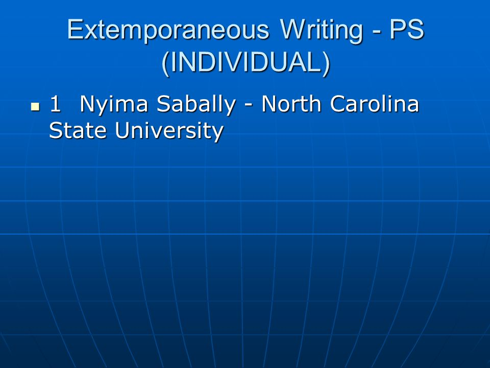 Extemporaneous Writing - PS (INDIVIDUAL)