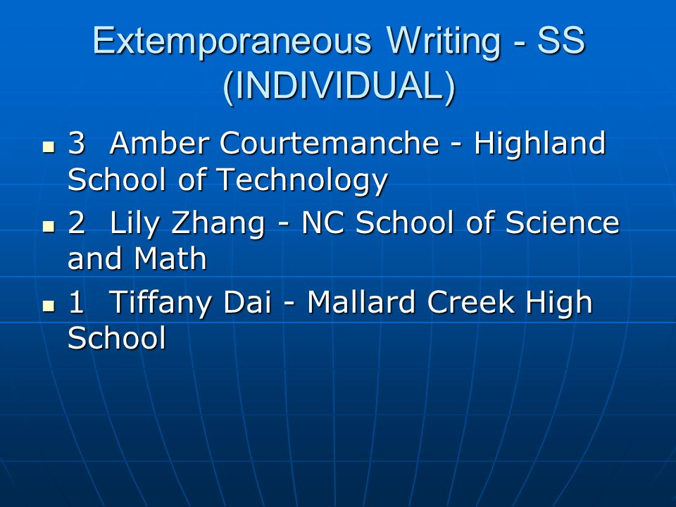 Extemporaneous Writing - SS (INDIVIDUAL)