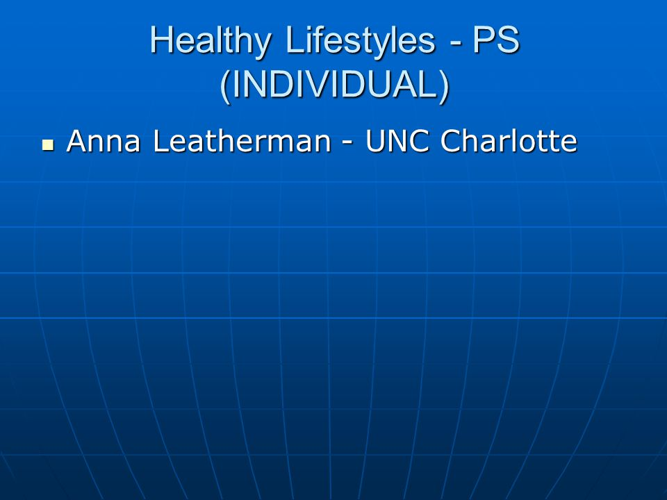 Healthy Lifestyles - PS (INDIVIDUAL)