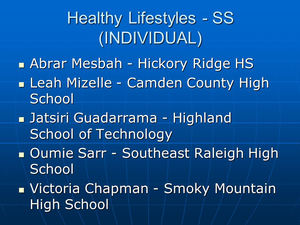 Healthy Lifestyles - SS (INDIVIDUAL)