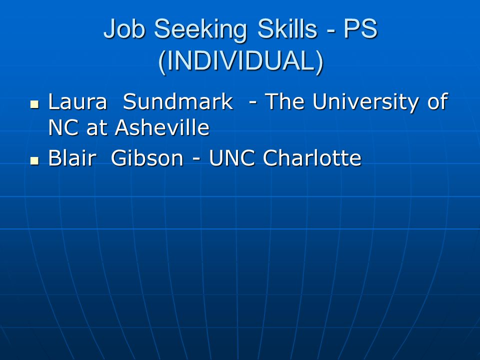 Job Seeking Skills - PS (INDIVIDUAL)