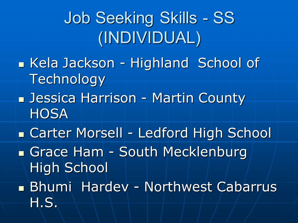 Job Seeking Skills - SS (INDIVIDUAL)