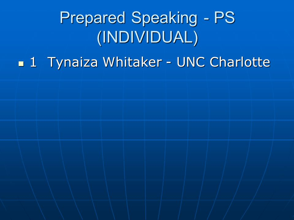 Prepared Speaking - PS (INDIVIDUAL)