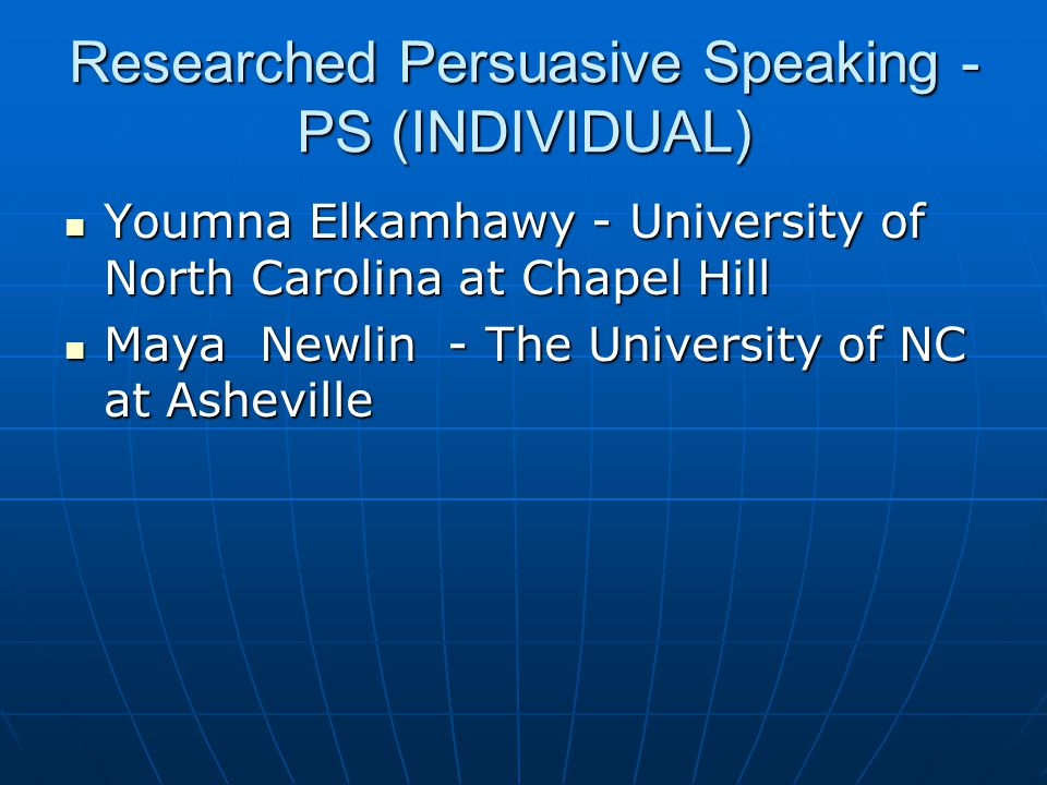 Researched Persuasive Speaking - PS (INDIVIDUAL)