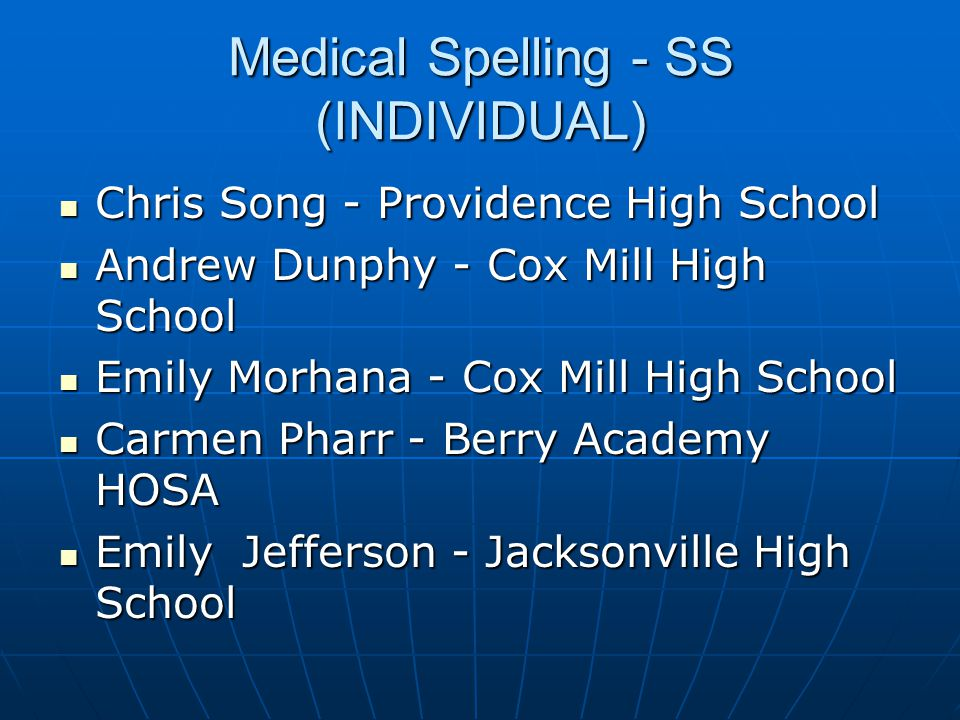 Medical Spelling - SS (INDIVIDUAL)