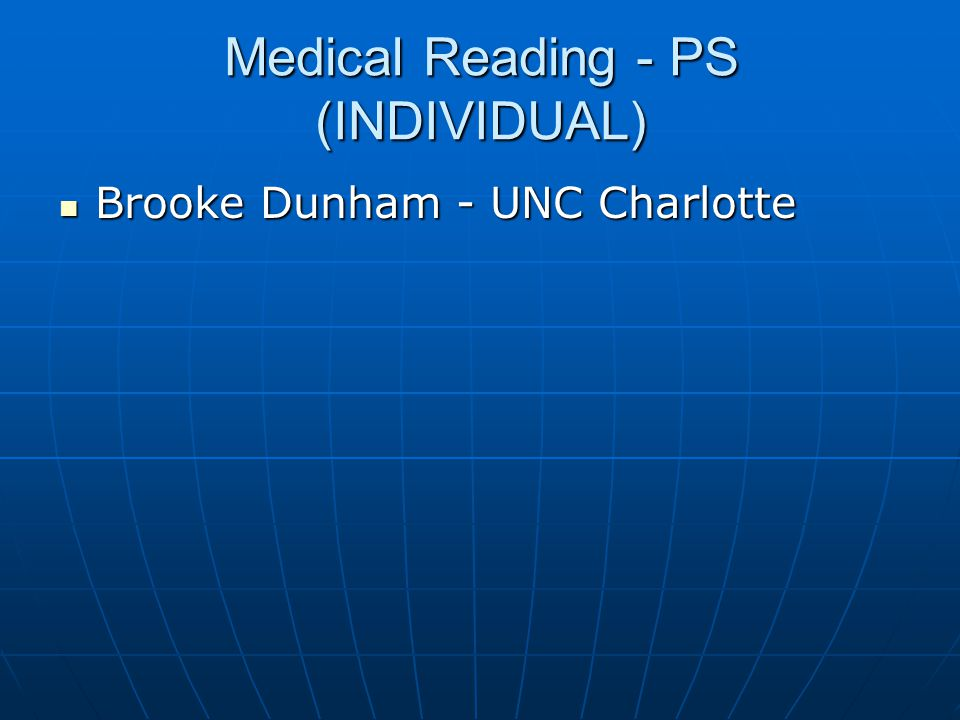 Medical Reading - PS (INDIVIDUAL)