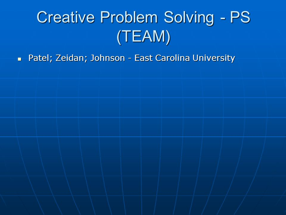 Creative Problem Solving - PS (TEAM)
