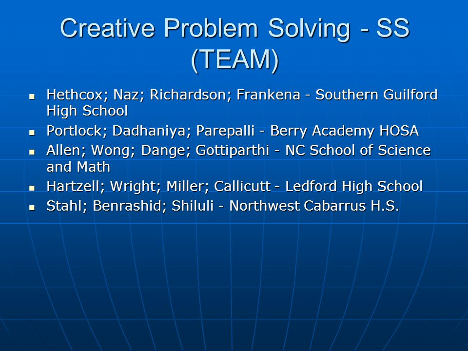 Creative Problem Solving - SS (TEAM)