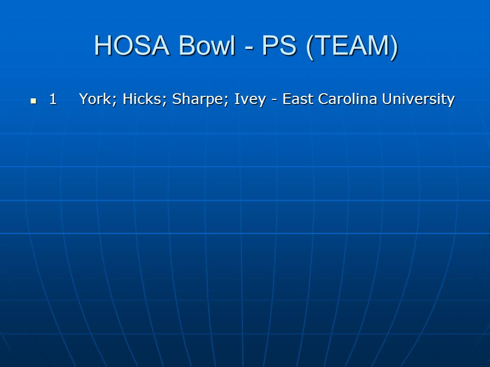 HOSA Bowl - PS (TEAM) 1 York; Hicks; Sharpe; Ivey - East Carolina University