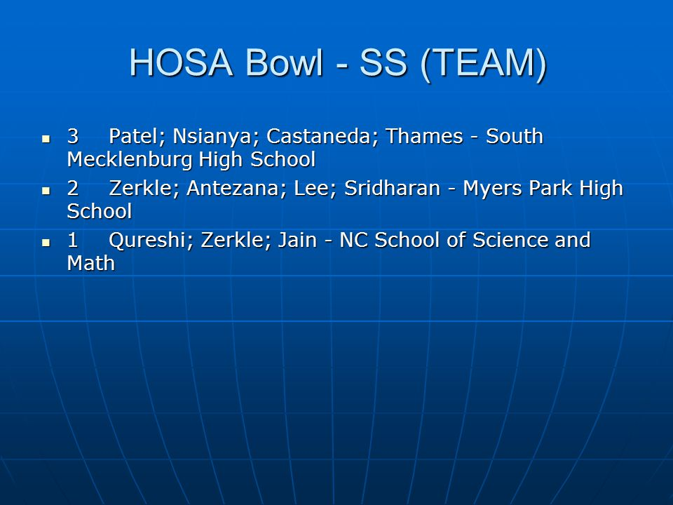 HOSA Bowl - SS (TEAM) 3 Patel; Nsianya; Castaneda; Thames - South Mecklenburg High School.
