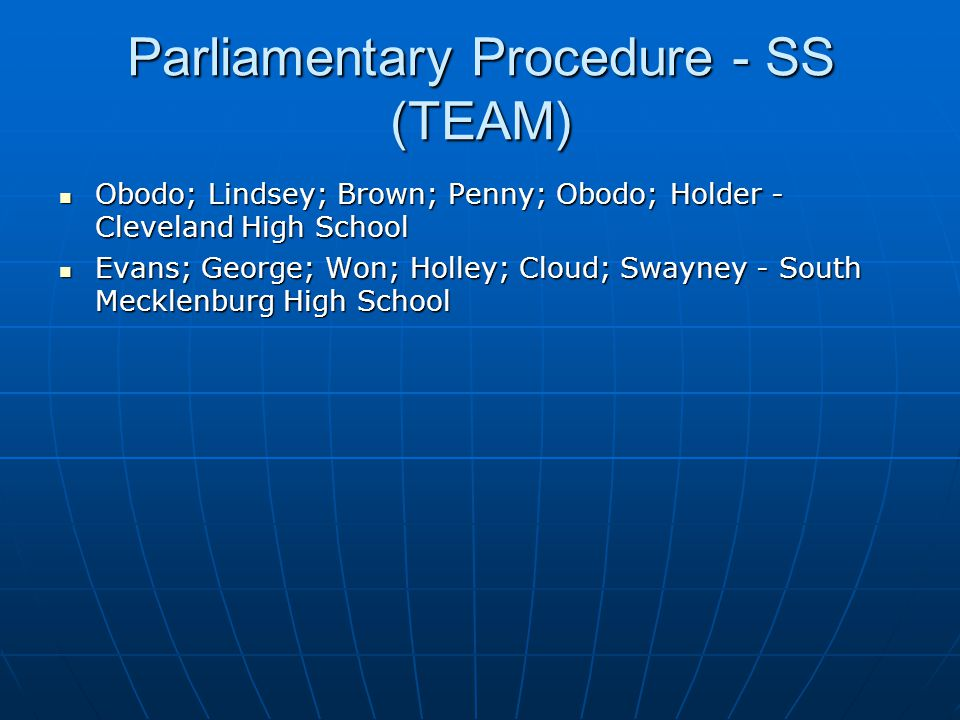 Parliamentary Procedure - SS (TEAM)